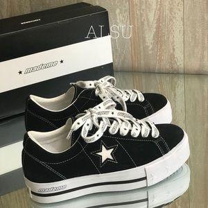 Con&Mademe One Star Platform Suede Black White W NWT
